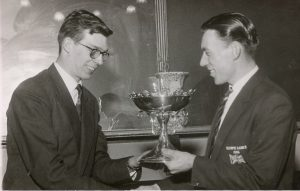Ray Booty & Stan Brittain with the Harry Barker Trophy